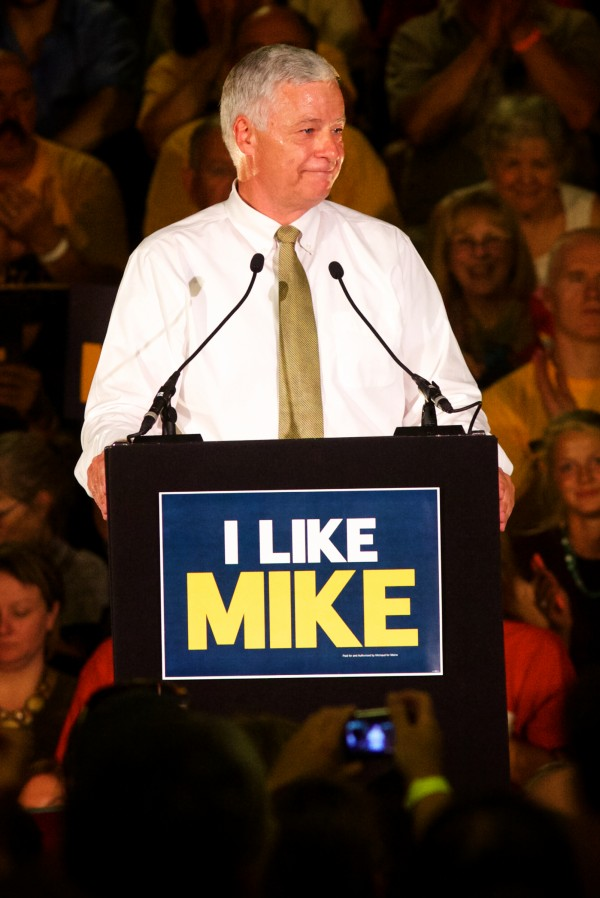 Maine gubernatorial candidate Mike Michaud speaks Tuesday night at the Portland Expo.