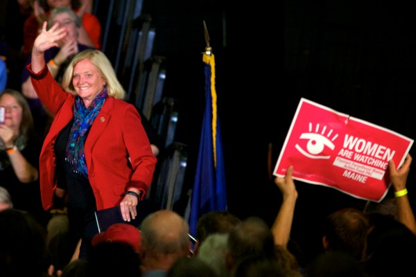Maine 1st District Rep. Chellie Pingree waves to the crowd at the Portland Expo while stumping for Mike Michaud on Tuesday night in Portland.