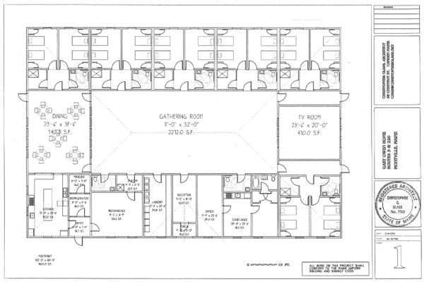 Blueprints for the Garry Owen House, a proposed homeless shelter for veterans in Maine, illustrate a spacious, one-story building with room for 24 beds and a large gathering room in the center.