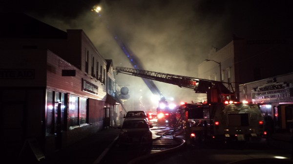At 10 p.m. Tuesday,  firefighters still were working to extinguish a fire at a restaurant on Cottage Street in downtown Bar Harbor.