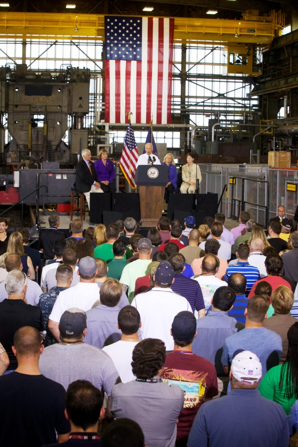 Vice President Joe Biden speaks to a crowd at Portsmouth Naval Shipyard in Kittery on Wednesday.
