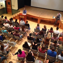 "The incoming College of the Atlantic Class of 2018  hears about ""Perspectives on Human Ecology"" from professors Karen Waldron and David Feldman, Monday on the campus in Bar Harbor."