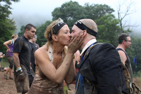 Newlyweds Steven and Jennifer Fisher take a break from the Wintergreen Mountain Spartan Race course for a little romance.