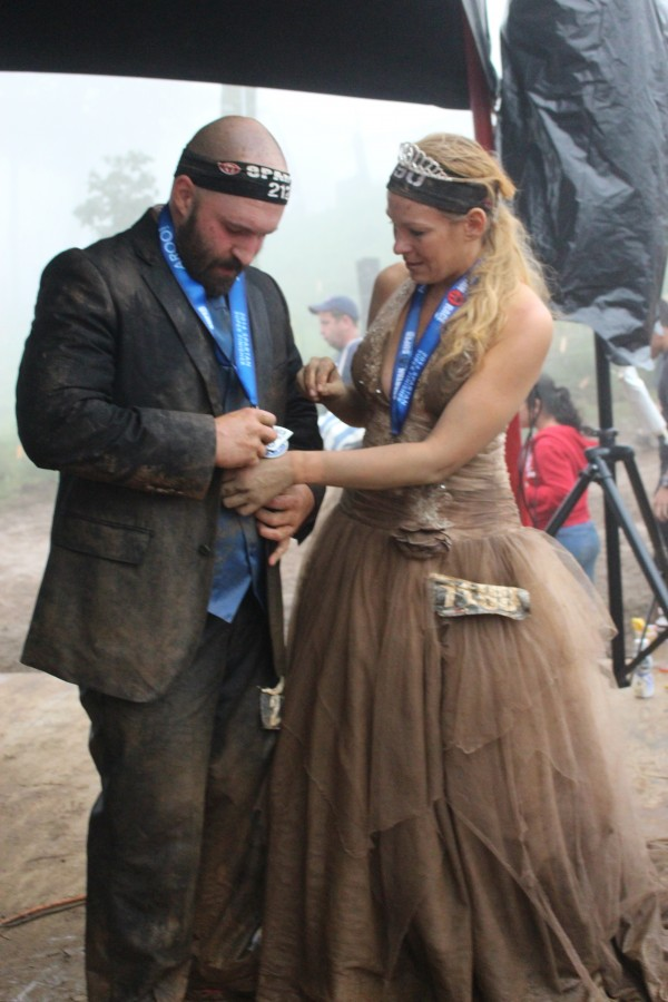 Steve and Jennifer Fisher exchange vows at the finish line of the Wintergreen Mountain Spartan Race on Aug. 23.