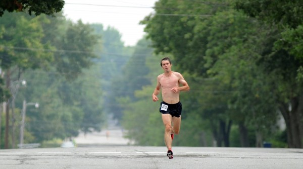 Erik McCarthy of Old Town runs down West Broadway nearing the 4-mile mark of the 52nd annual Labor Day 5-Mile Road Race. The race began at 9 a.m. next to Hollywood Casino and finished at the Bangor Parks and Recreation Center on Main Street. McCarthy finished first with a time of 26:35.