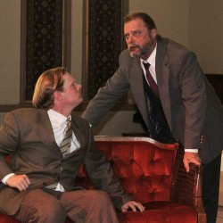 "Dylan Brennan (left) as C.S. Lewis discusses his conversion to belief in the supernatural with Dennis Hamrick as Sigmund Freud, an avowed atheist. The Union Street Brick Church will present ""Freud's Last Session,"" by Mark St. Germain, a play suggested by the ""Question of God"" Sept. 19-21, at the church. Admission to the play is free."