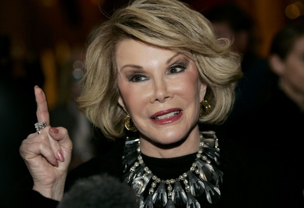 Comedian Joan Rivers talks to reporters at the Kennedy Center in Washington in this file photo taken Nov. 10, 2008.