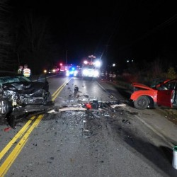 Police are investigating the cause of a head-on collision on Route 201 in Topsham Monday night at around 6 p.m. One driver was taken to Central Maine Medical Center and the other to Mid Coast Hospital.