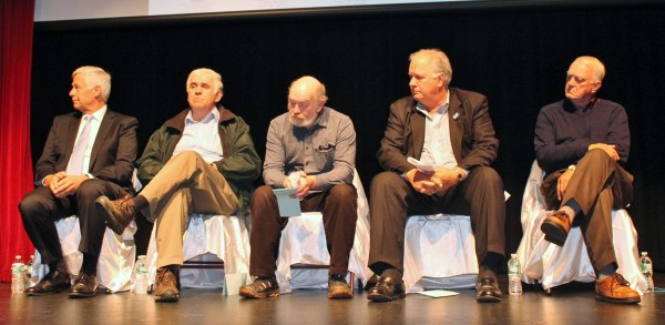 Four candidates for public office and a representative for gubernatorial candidate Eliot Cutler attended a forum on the east-west corridor Oct. 23 at the Center Theatre in Dover-Foxcroft. Pictured, from left, are Democratic gubernatorial candidate Mike Michaud, Maine Senate District 4 Republican candidate Paul Davis, State Senate District 4 Democratic candidate David Ziemer, Ted O'Meara from Cutler's staff and House District 120 Republican candidate Norman Higgins.