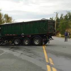 This truck came to a stop across U.S. 1A in Harrington after a pickup truck crossed the center line and the two vehicles collided Tuesday morning. The driver of the pickup truck was pronounced dead at the scene.