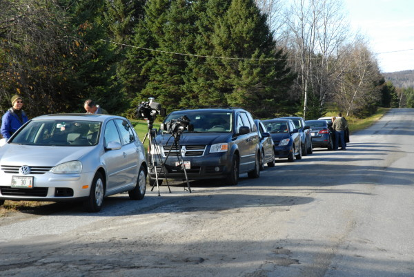 Media outlets were set up outside the Fort Kent home of Kaci Hickox and Ted Wilbur on Tuesday.