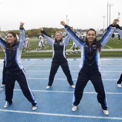 University of Maine cheerleaders perform a routine during the University of Maine's game against Villanova at Alfond Stadium in Orono in this October 2014 file photo.