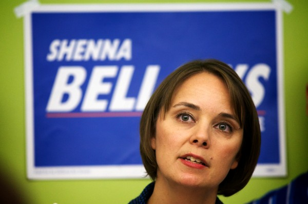 Democratic U.S. Senate candidate Shenna Bellows speaks of her support for a universal health care program while criticizing incumbent Sen. Susan Collins' votes to repeal the Affordable Care Act at a Thursday morning news conference in Portland.