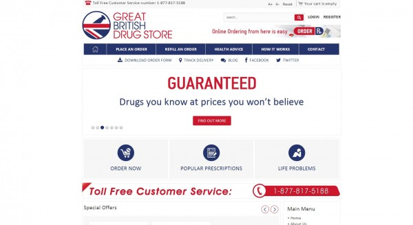 A screenshot of the Great British Drugstore website on Tuesday.