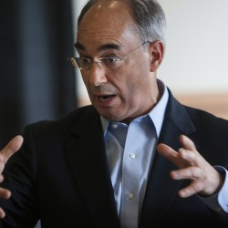 Bruce Poliquin, Republican candidate for the 2nd Congressional District seat, addresses the crowd during the Bangor:Fusion lunch at the Cross Insurance Center in Bangor on Wednesday.