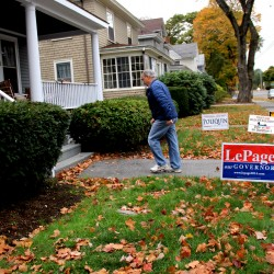Bruce Poliquin, who is running to represent Maine's 2nd Congressional District, knocked on doors on a recent Saturday morning. He told Bangor residents he met that he wants to create a better climate for business in Maine.