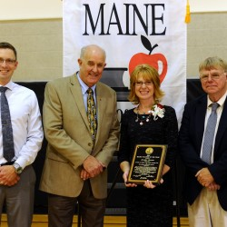 Jennifer Dorman, a special education school teacher at the Skowhegan Area Middle School, was named the Maine Teacher of the Year by Department of Education Commissioner Jim Rier. Pictured are Skowhegan Area Middle School Principal Zachary Longyear, Rier, Dorman and MSAD 54 Superintendent Brent Colbry.