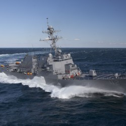 Warship named for war hero departs Maine