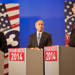 Democratic state Sen. Emily Cain (from left), Republican former State Treasurer Bruce Poliquin and independent Blaine Richardson square off during the 2nd Congressional District debate on Tuesday, Oct. 14, at the CBS 13 television studios in Portland. The three candidates for the 2nd District faced off in the last debate of the election Thursday night, Oct. 23.