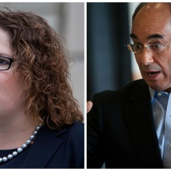 Democrat Emily Cain and Republican Bruce Poliquin, candidates for the 2nd Congressional District seat.