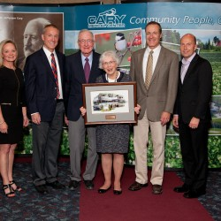 The Collins Family was honored at Cary Medical Center's 90th anniversary celebration on Sept. 24 at the Caribou Inn and Convention Center. Pictured from left, are Cary CEO Kris Doody, RN; chairman of the Cary Medical Center board of directors Gregg Collins; former member Cary Medical Center board of directors and member of the Caribou Hospital District, Don Collins; Mrs. Patricia Collins, Sam Collins and Shawn Laferriere, DO, president of the medical staff at Cary.