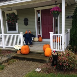 Chris Henderson of Hampden took this photo at his home Oct. 14, 2014. He says his kids love the dummy set up on the porch each year.