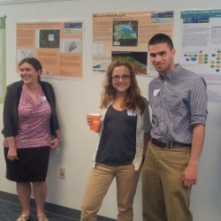 CUTLINE FOR ATTACHED PHOTO: University of Maine at Machias students (from left) Meghan Cranford, Amy Dowley and Jake Rottersman presented posters of GIS maps at the 2013 conference of the Maine Association of Planners recently in Vermont, where the project was awarded regional recognition.