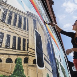 Bangor artists begin work on new downtown mural