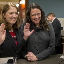 Jennifer Bersdale, left, and Rachael Bersdale apply for a marriage license at City Hall in St. Louis, Missouri on Nov. 5, 2014.