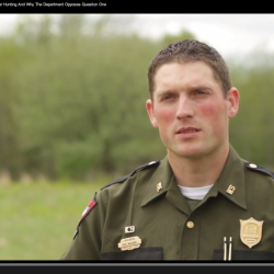 Maine Game Warden Kris MacCabe speaks out on behalf of the Maine Warden Service in opposition of Question 1, a referendum to ban the use of bait, dogs and traps in bear hunting in Maine, in a video produced and posted by the Maine Department of Inland Fisheries and Wildlife on Sept. 2, 2014.