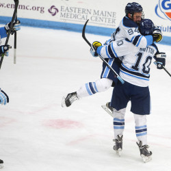 Freshman scores 2 goals as Maine hockey team pounds Boston University 7-0