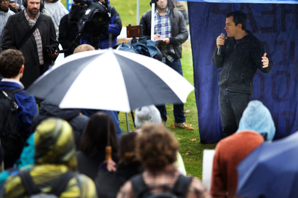 Rep. Ben Chipman, I-Portland, speaks at a student walk-out on Monday at the USM Portland campus. Protesters demanded and end to faculty and program cuts.