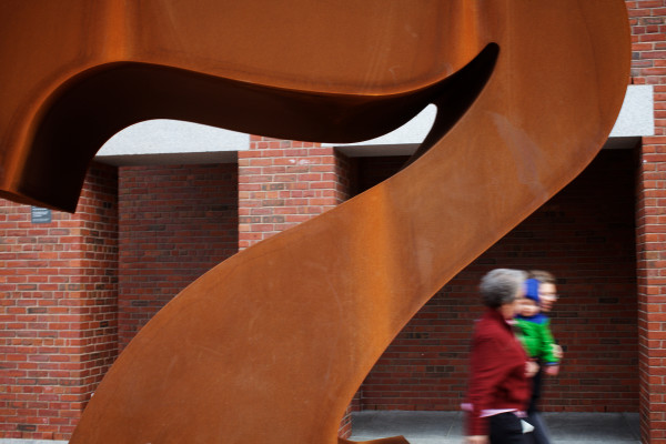 Pedestrians walk by the Robert Indiana sculpture &quotSeven&quot outside the Portland museum of Art on Monday. The numeral refers to the museum's address: 7 Congress Square.