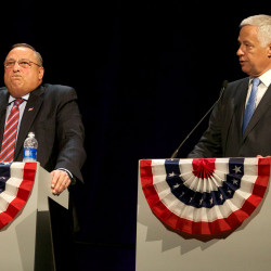 Democratic candidate for governor U.S. Rep. Mike Michaud (right) makes a point about incumbent Gov. Paul LePage at a televised debate in Augusta on Oct. 15.