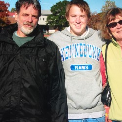 Karen MacGregor (right) with her husband Peter Sargent (left) and son Mac Sargent (center) in 2008. Peter Sargent died in October of complications form early-onset (also known as younger-onset) Alzheimer's disease.