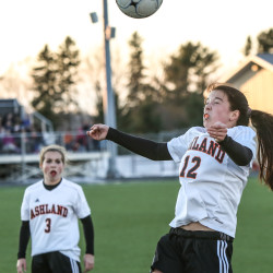 Ashland's Erica Cyr goes up for a header during the Eastern Maine Class D championship against Penobscot Valley High School on Wednesday at the Johnson Athletic Complex in Presque Isle. Ashland won 1-0 and will play Richmond for the state title Saturday in Hampden.