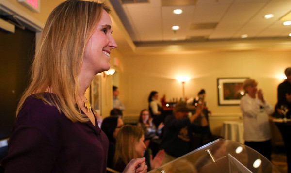 Yes on 1's campaign director Katie Hansberry addresses a crowd of supporters in Portland's Embassy Suites at 9:40 p.m. to offer thanks for an &quotincredible campaign&quot and to say she was optimistic, pledging to continue watching the polls until 1 a.m. Wednesday.