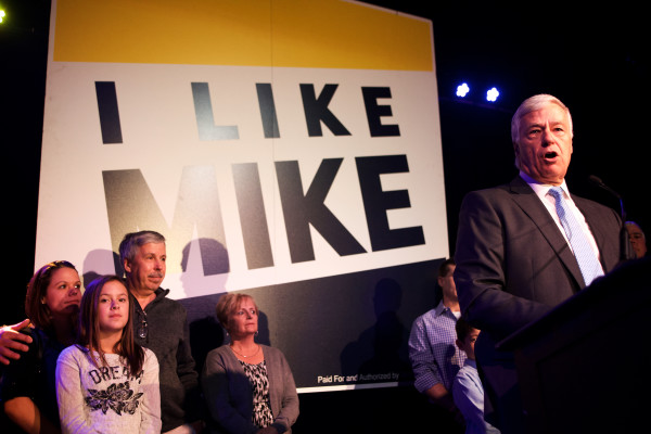 Mike Michaud concedes defeat in the governor's race early Wednesday morning in Portland.
