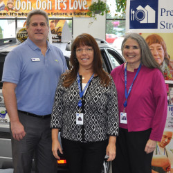 Patriot Subaru General Manager Brian Beattie welcomes Preble Street associates Michelle Dietz, Board of Director, and Elena Schmidt, Chief Development Officer to the Subaru Share The Love Event.
