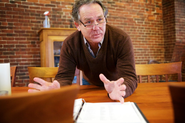 Sam May, the advisory board chair of Maine Harvest Credit Union, which is still &quotin organization,&quot talks  in Portland on Wednesday about a long list of Maine farmers he helped survey to find out what they needed in a custom financial institution.