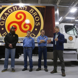Geaghan Bros. Brewing Co.'s Larry Geaghan (from left), Andrew Geaghan, Pat Geaghan, Peter Geghan and Maine Distributers' Scott Solman address the media during an unveiling of the first local craft beer truck in the region, which will take Geaghan Bros. beer to distributors and bars in several surrounding counties Wednesday at their soon-to-open brewery expansion in Brewer.