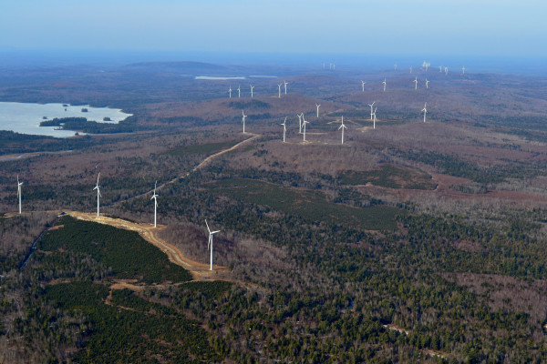 An aerial photo, taken March 18, 2012, of First Wind's 60 megawatt, 200 wind turbine Rollins Wind project, 8 miles east of Lincoln, Maine.