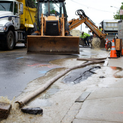 A water main break on Pearl Street in Portland caused the federal courthouse to shut down for the day in this June 2013 file photo.