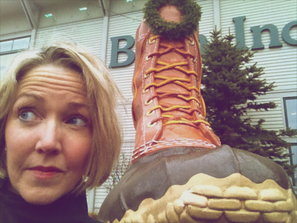 BDN writer Kathleen Pierce enters the flagship store with the signature boot out front.