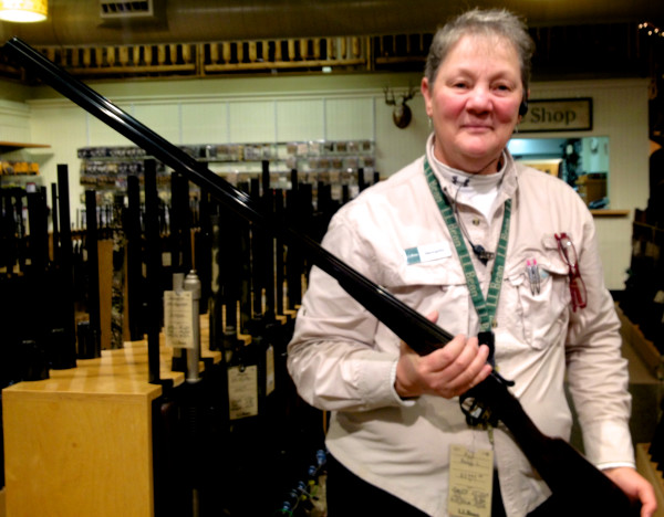 Georgette Kanach works in the Hunting and Fishing department.