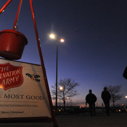One of the regular spots for the Salvation Army kettle drive is in the front of Macy's Department Store in Bangor.