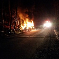 No one injured when truck catches fire with Bowdoin family, dog inside