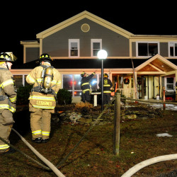 An apartment fire at Holden Square Apartments on Upper Dedham Road in Holden on Sunday night left all residents evacuated and two hospitalized.