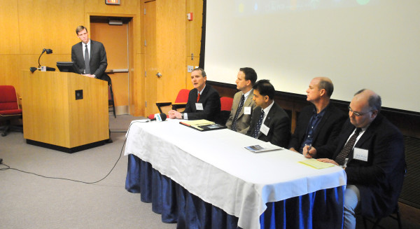 A panel discussion during a press event at the University of Maine in Orono.