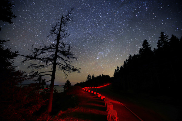 The granite blocks that serve as guard rails on the Park Loop Road are illuminated by a headlamp in this two-minute time exposure in Acadia National Park.